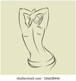 art background with topless beautiful young woman with her back, sketch vector