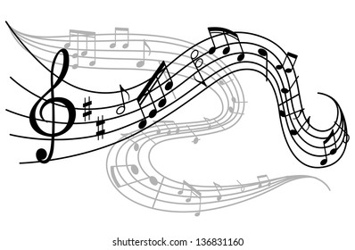 Art background with waves of musical notes. Jpeg (bitmap) version also available in gallery