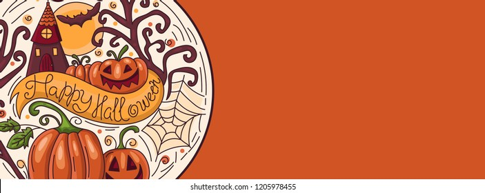 Art banner for Happy Halloween.Design template for flyers, posters,ecards, invitations, brochures. Creative style. Vector illustration