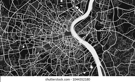 art black white map city
