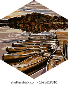 art, boats and lakes, with a hexagon shape, for screen printing