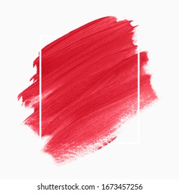 Art brush paint stroke abstract background poster vector over frame. Perfect watercolor design for headline, logo and sale banner.