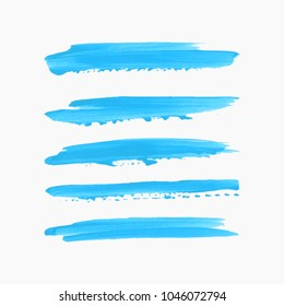 Art brush painted acrylic textured stripes set isolated vector background. Watercolor splash stroke set.