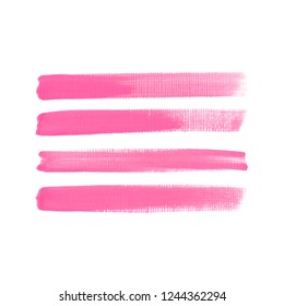 Art brush painted textured stripes set isolated vector background. Watercolor makeup stroke set.