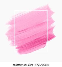 Art brush stroke paint creative background vector over frame. Perfect design for logo, headline and sale banner.