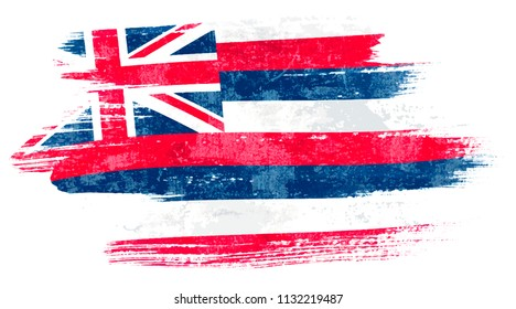 Art brush watercolor painting of Hawaii flag blown in the wind isolated on white background eps 10 bector illustration.