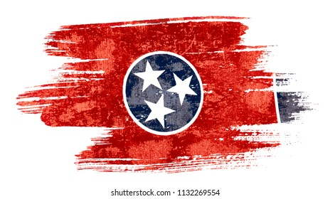 Art brush watercolor painting of Tennessee flag blown in the wind isolated on white background eps 10 vector illustration.