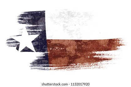 Art brush watercolor painting of Texas flag blown in the wind isolated on white background eps 10 bector illustration.