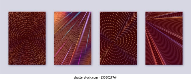 Art business card. Abstract lines modern brochure template. Orange vibrant gradients geometry on wine-red background. Uncommon cover, brochure, poster, book etc.
