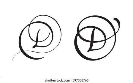 art calligraphy letter D with flourish of vintage decorative whorls. Vector illustration EPS10.