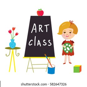Art class card with child and board for kindergarten - cute vector graphic illustration