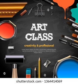 Art Class, studio, course, school, education. Banner or poster with black chalkboard background, hand drawn letters, pencil, brush, paints. Vector illustration.