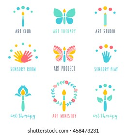 Art Class, Studio and Projects Icons. Art Therapy and Sensory Play Signs