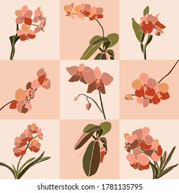 Art collage orchid flower set in a minimal trendy style. Silhouette of orchid plants in a contemporary simple abstract style on a pink background. Vector illustration For t-Shirt Print, card, poster