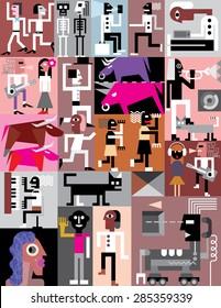 Art collage - vector illustration.