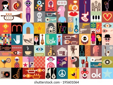 Art collage, vector illustration. Patchwork seamless wallpaper.
