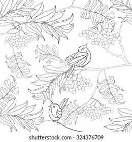Art and Color Therapy. An Anti Stress Coloring Book. birds in the rowan. coloring page