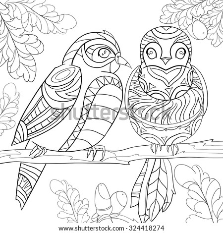 Art And Color Therapy An Anti Stress Coloring Booktwo Love Birds On A