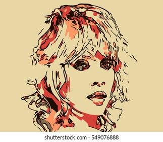 art colorful sketching beautiful girl face