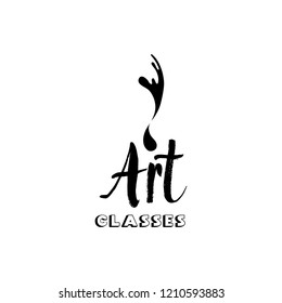 Art company lettering isolated design. Calligraphy school, masters, craft shop logo with hand, calligraphic fonts. Black metal laser cut sign. Art and creativity logotype for shop layout or branding.