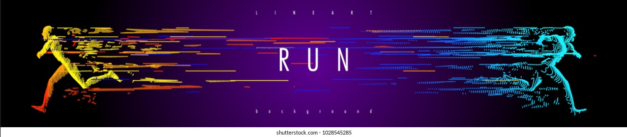 Art concept of a running man. Vector drawn by color lines. Minimal cover design. Creative line-art. Vector template brochures, flyers, presentations, logo, print, leaflet, banners.