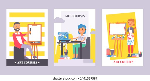 Art courses set of banners, posters vector illustration. Man draving on canvas. Girl sitting in front of laptop listening in earphones to online lesson and painting on tablet.