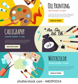 Art and craft lessons banners for oil painting calligraphy and watercolor  vector illustration