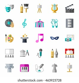Art and culture, color, icons. Vector color images with objects of entertainment and leisure.