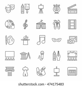 Art & culture, icons, monochrome, outline. Vector flat icons of attributes of culture and art. Gray image on a white background.