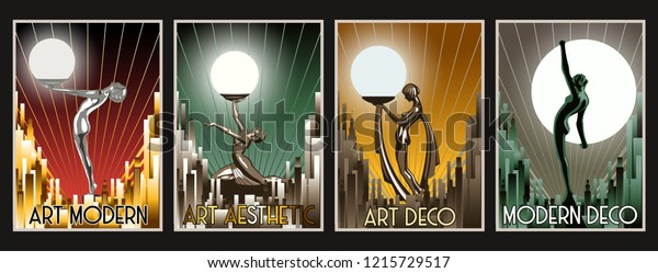Art Deco Aesthetic Women from the 1920s Retro Posters