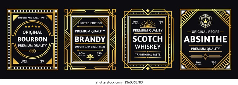 Art deco alcohol label. Vintage bourbon scotch, retro brandy and absinthe labels. Craft alcohol beverage logo, brand whisky and bourbon sticker elegant gold design vector illustration set