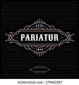 art deco antique luxury gold monochrome hipster minimal geometric vintage linear vector frame , border , label  for your logo badge or crest