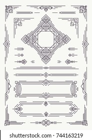 Art deco and arabic line design elements black color isolated on white background for decoration wedding invitation, greeting card, menu, pattern, textile, poster, promotion, web. Vector Illustration