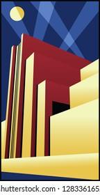 Art Deco Architecture 1920s Poster Style