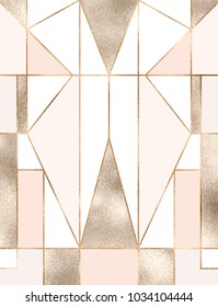 Art deco background with gold glitter geometric shapes, triangles, rectangles, lines, squares.