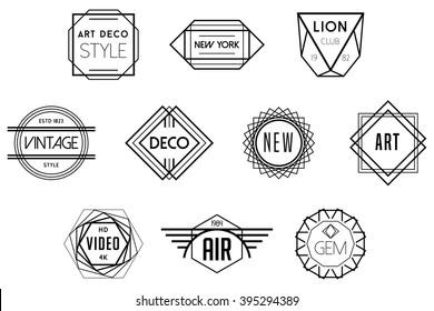 Art Deco Badges Black Vector Logos