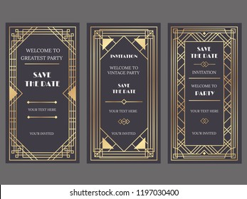 Art deco art banner. Fancy party event invitation, glamour golden retro vogue pattern and gold frames. Vintage decorative classic antique wedding luxury frame vector banners illustration set