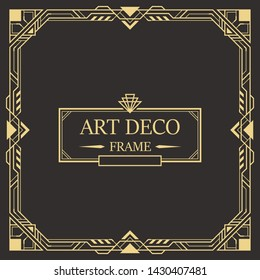 Art deco border and frame. Creative template in style of 1920s for your design. Vector illustration. EPS 10