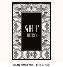 Art deco border frame. Template for design. Vector illustration
