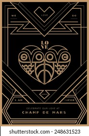 art deco border template vector/ Wedding invitation/ Valentines day proposal card
