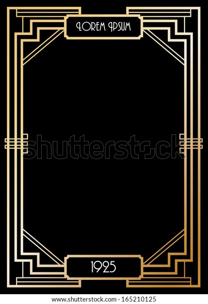art deco border template vector/illustration