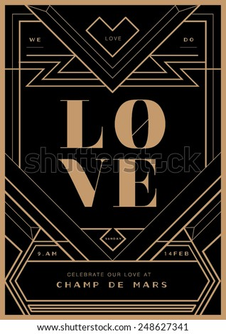 art deco border wedding invitation template vector illustration valentines day proposal letter