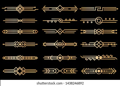 Art deco borders. Gold deco design dividers, book header ornament patterns. 1920s and 30s vintage luxury elements. Vector isolated set of style illustration lines for artdeco frame
