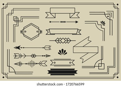 Art deco borders graphic design geometric elements collection for your creative projects. trendy vintage minimalistic frame design, vector lines and banners