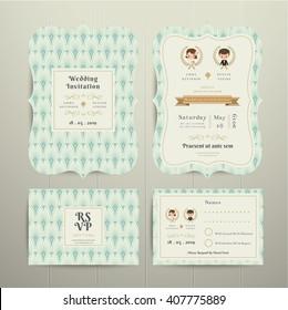 Art Deco Cartoon Couple Wedding Invitation Card RSVP Set Mint and Gold on wood background
