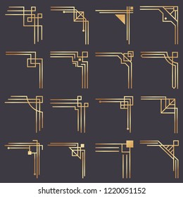 Art deco corner. Modern graphic corners for vintage gold pattern border. Golden 1920s fashion decorative lines frame or vector ornaments geometric frames classic isolated symbols vector set