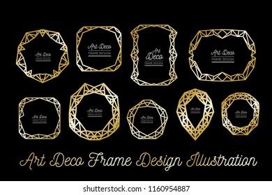 Art deco decorative frame. Golden lines. Wedding invitation. Vector