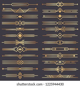 Art deco divider. Gold retro arts border, 1920s decorative ornaments and golden dividers borders, minimal elegant golden ornament frame for wedding invitation card. Vector design isolated icons set