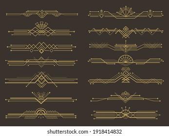 Art deco divider, golden geometric line border vector set