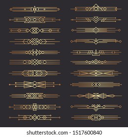 Art deco dividers. Lines shapes decorative borders minimal swirl decor 1920s vector template dividers collection